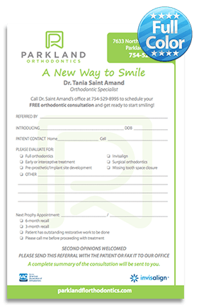 Parkland Orthodontics Referral Notepads